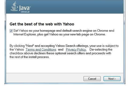 Oracle a décidé de déplacer l'Ask avec Yahoo! dans mises à jour de Java instantané