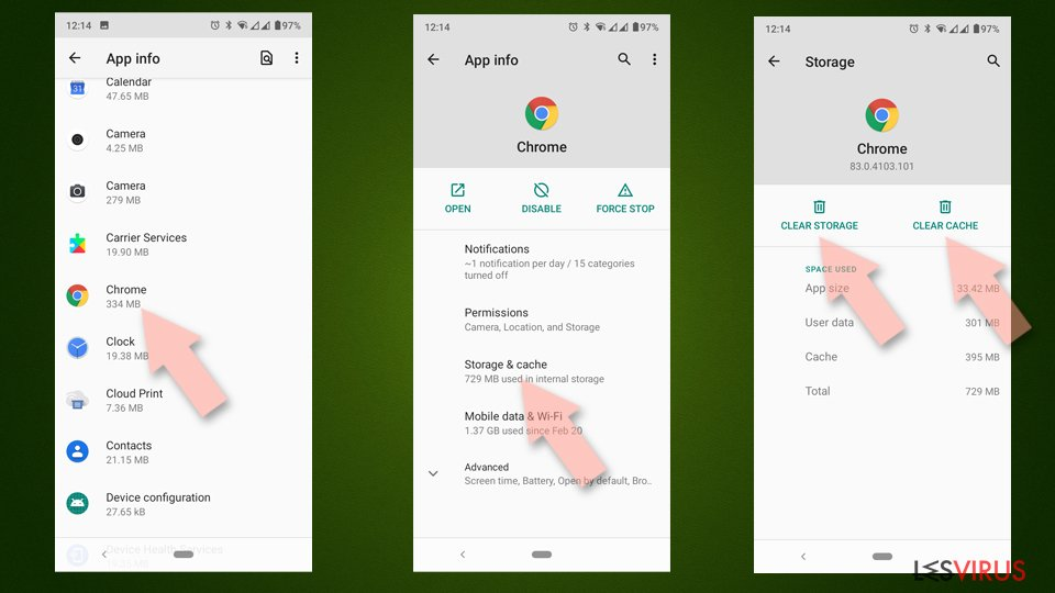 Clear Chrome cache and and data Android