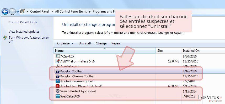 Faites un clic droit sur chacune des entrées suspectes et sélectionnez 'Uninstall'