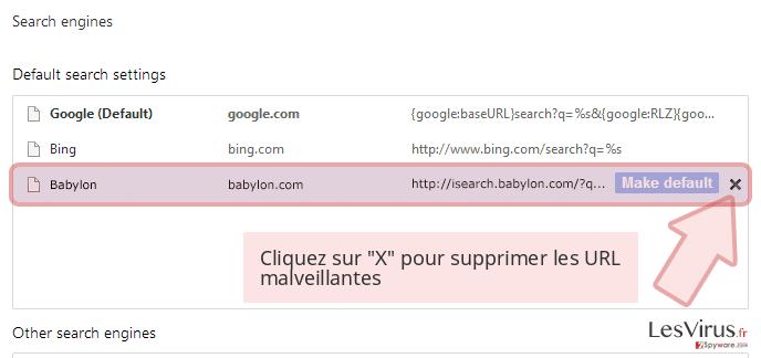 Cliquez sur 'X' pour supprimer les URL malveillantes