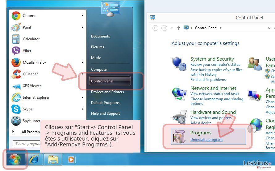 Cliquez sur 'Start -> Control Panel -> Programs and Features' (si vous êtes s utilisateur, cliquez sur 'Add/Remove Programs').