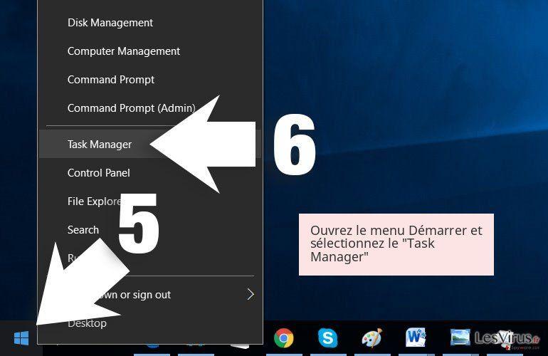 Ouvrez le menu Démarrer et sélectionnez le 'Task Manager'
