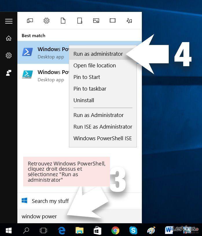 Retrouvez Windows PowerShell, cliquez droit dessus et sélectionnez 'Run as administrator'