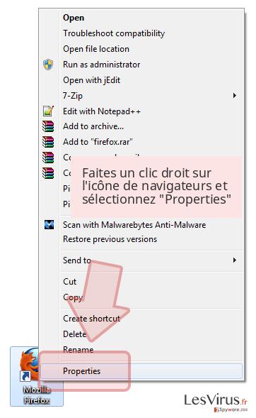 Faites un clic droit sur l'icône de navigateurs et sélectionnez 'Properties'