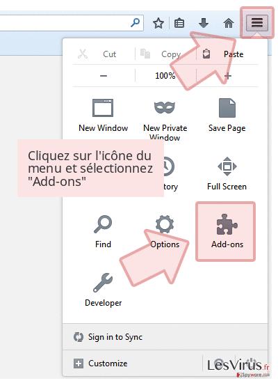 Cliquez sur l'icône du menu et sélectionnez 'Add-ons'