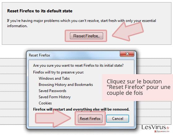 Cliquez sur le bouton 'Reset Firefox' pour une couple de fois