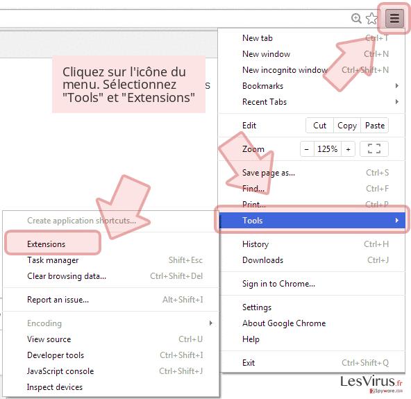 Cliquez sur l'icône du menu. Sélectionnez 'Tools' et 'Extensions'