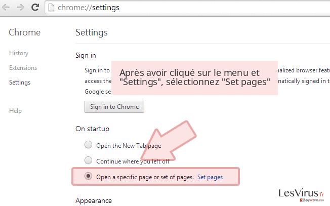 Après avoir cliqué sur le menu et 'Settings', sélectionnez 'Set pages'