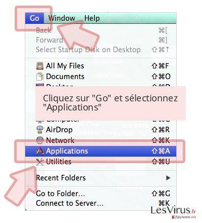 Cliquez sur 'Go' et sélectionnez 'Applications'
