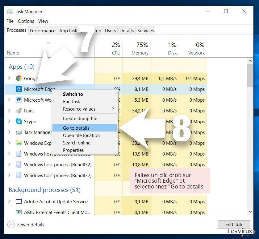 Faites un clic droit sur 'Microsoft Edge' et sélectionnez 'Go to details'