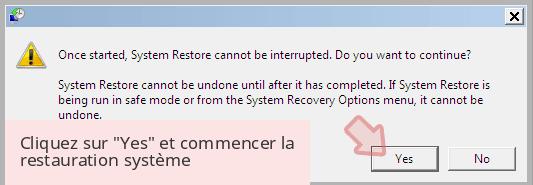 Cliquez sur 'Yes' et commencer la restauration système