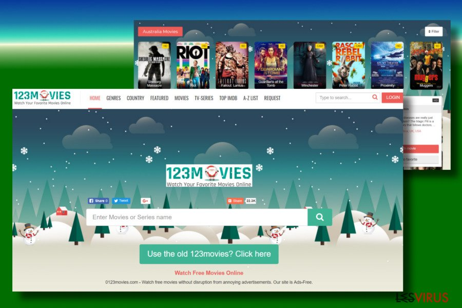 Image sur impression d'écran du virus 0123movies.com