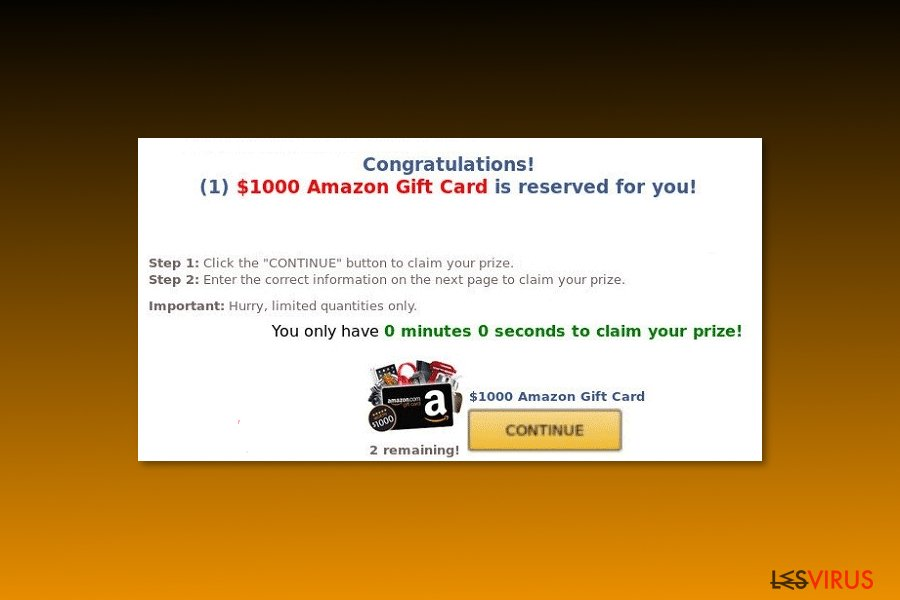 "Prototype du virus ""Carte-cadeau Amazon de 1 000 $ rien pour vous"" / ($1000 Amazon Gift Card is reserved for you"" )"