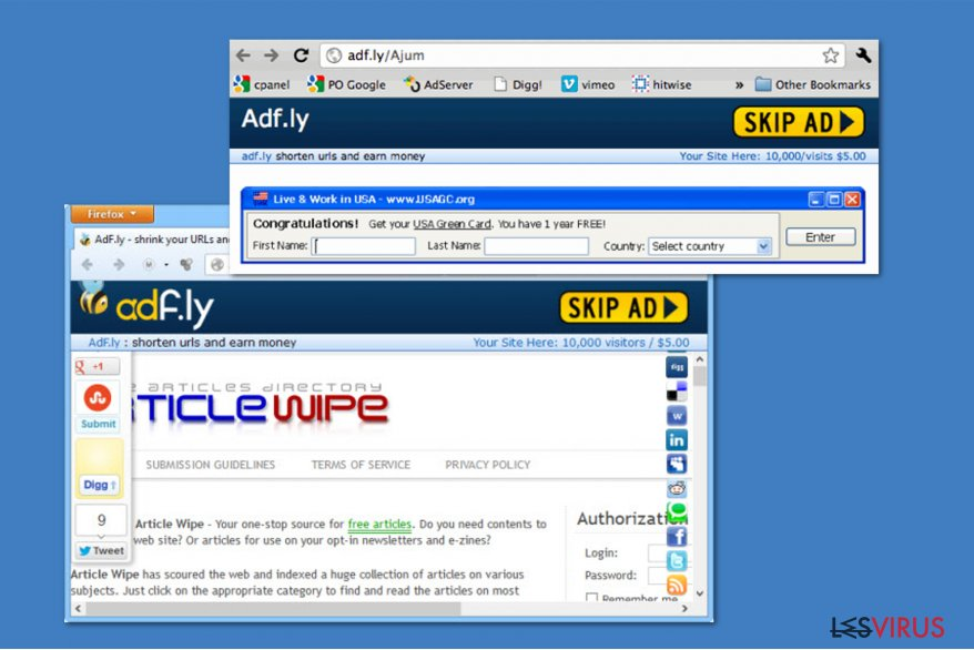 Le virus Adf.ly instantané