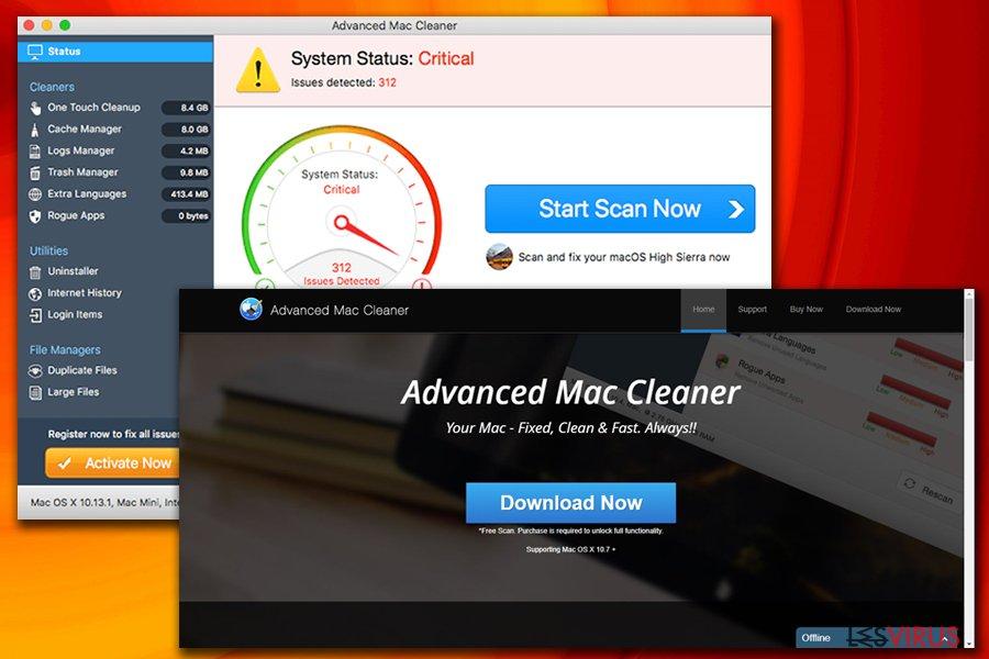 Le virus Advanced Mac Cleaner instantané