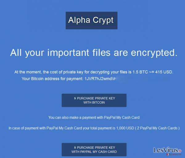 Le virus Alpha Crypt instantané