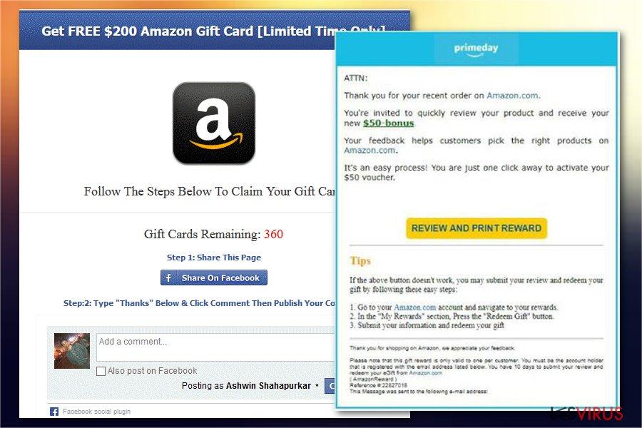 Le virus d'arnaque Carte-cadeau Amazon instantané