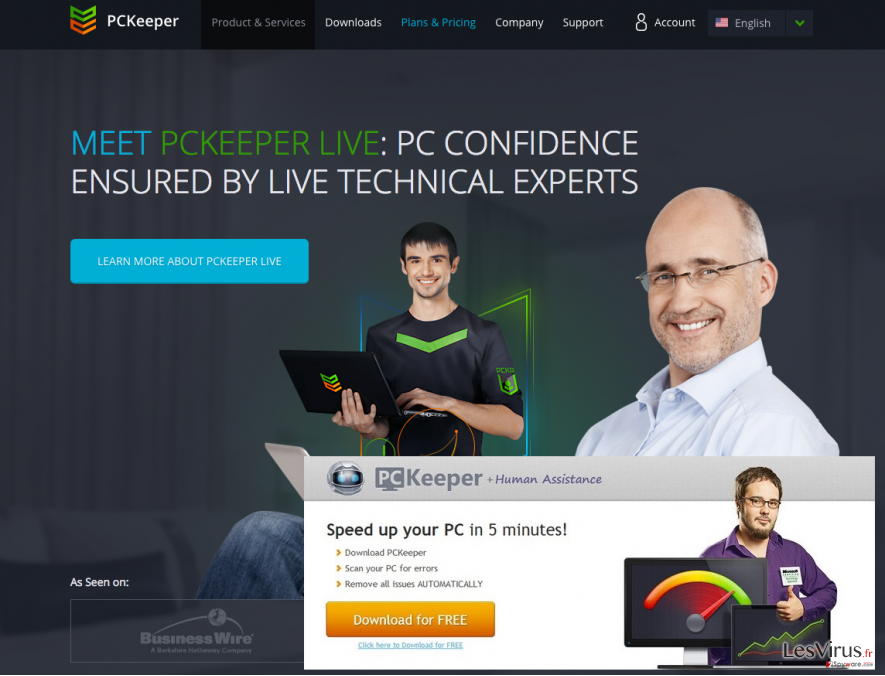 PCKeeper official site and its ads