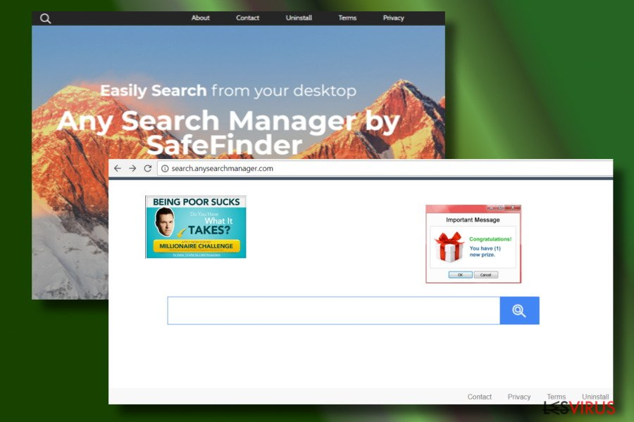 Showing a web browser hijacked by Any Search Manager