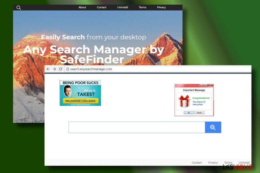 Présentation d'un navigateur web piraté par Any Search Manager