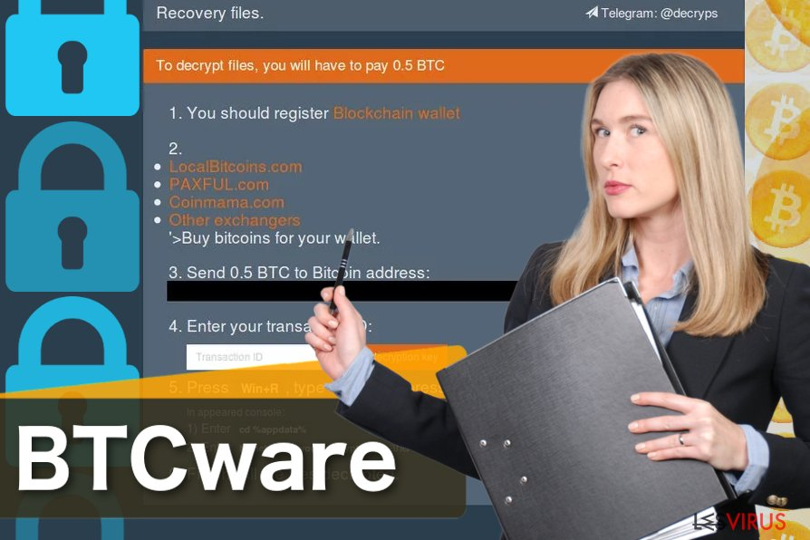 Capture d'écran du virus BTCware
