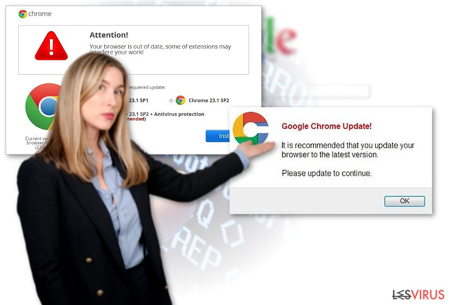 Un exemple du virus de redirection Chrome