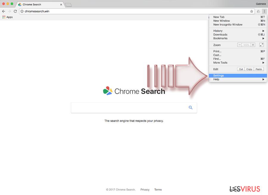 Le virus Chromesearch.win instantané