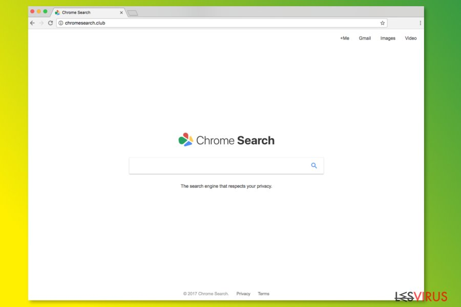 La page d'accueil de ChromeSearch.club