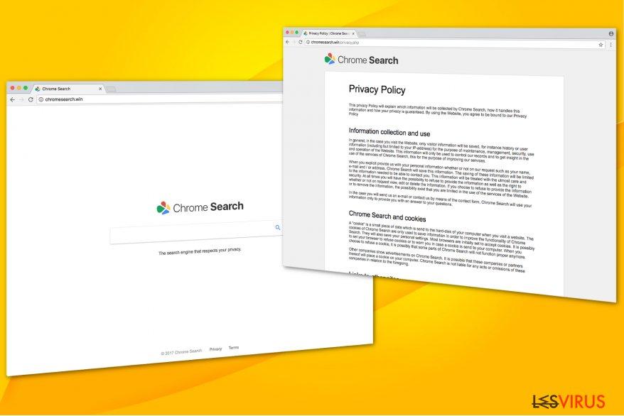 Illustration du virus Chromesearch.win