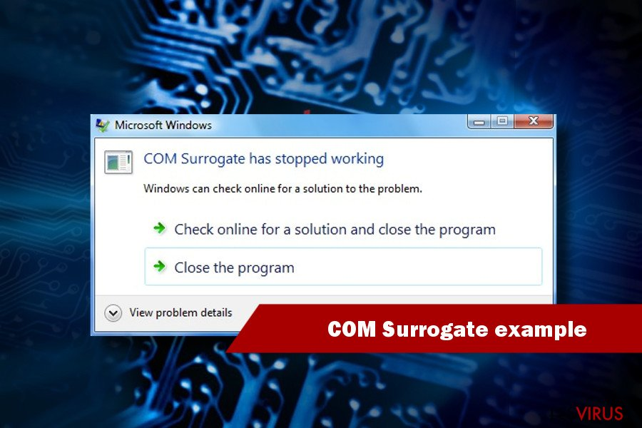 exemple de COM surrogate a cessé de fonctionner