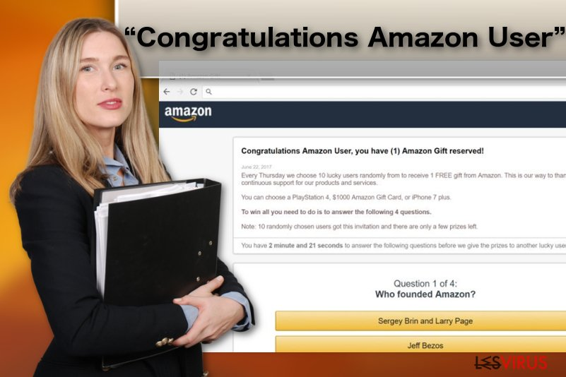 "Illustration du virus du publiciel ""Congratulations Amazon User"""