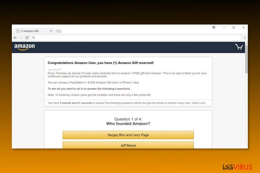 """Image représentant le virus """"Félicitation utilisateur d'Amazon"""""""