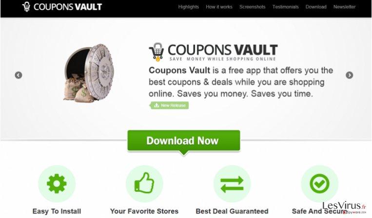 Coupons Vault adware instantané