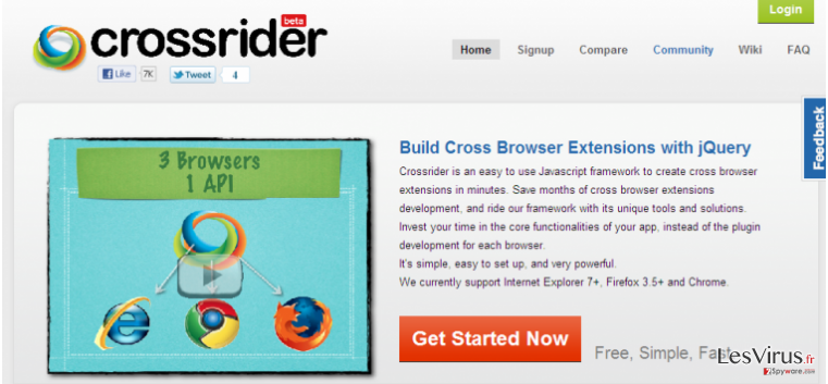 Search.crossrider.com redirect instantané