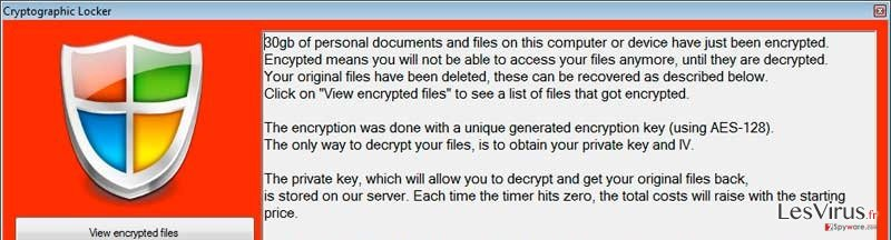Cryptographic Locker virus instantané