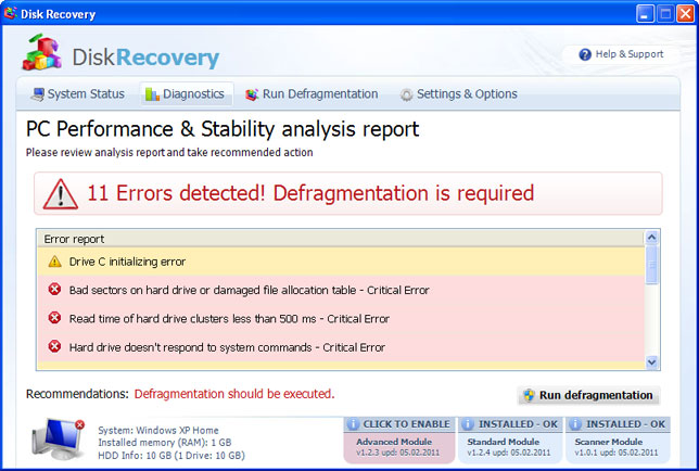 Disk Recovery instantané