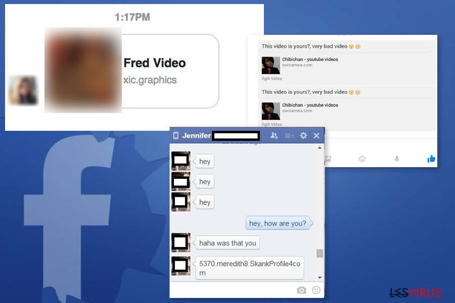 Des exemples du virus Facebook Message