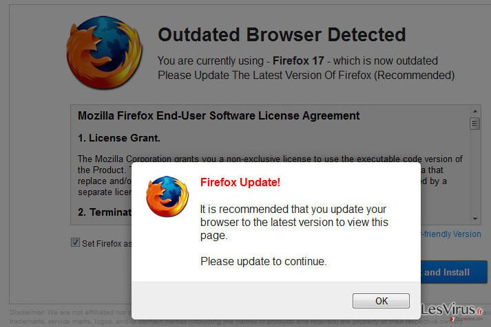 WARNING: Your Current Browser Is Outdated! instantané