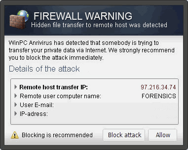 """Firewall Warning"" Fenêtres Publicitaires instantané"
