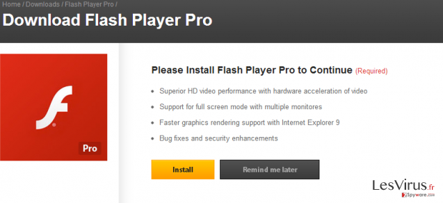 Le virus Flash Player Pro instantané
