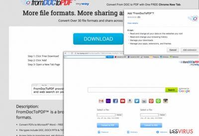 Capture d'écran de la barre d'outils From Doc to PDF