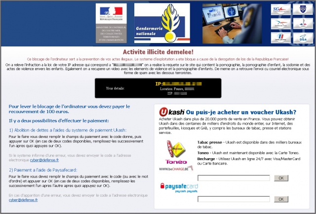 Gendarmerie Nationale Virus instantané
