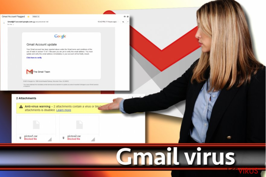 La capture d'écran du virus Gmail