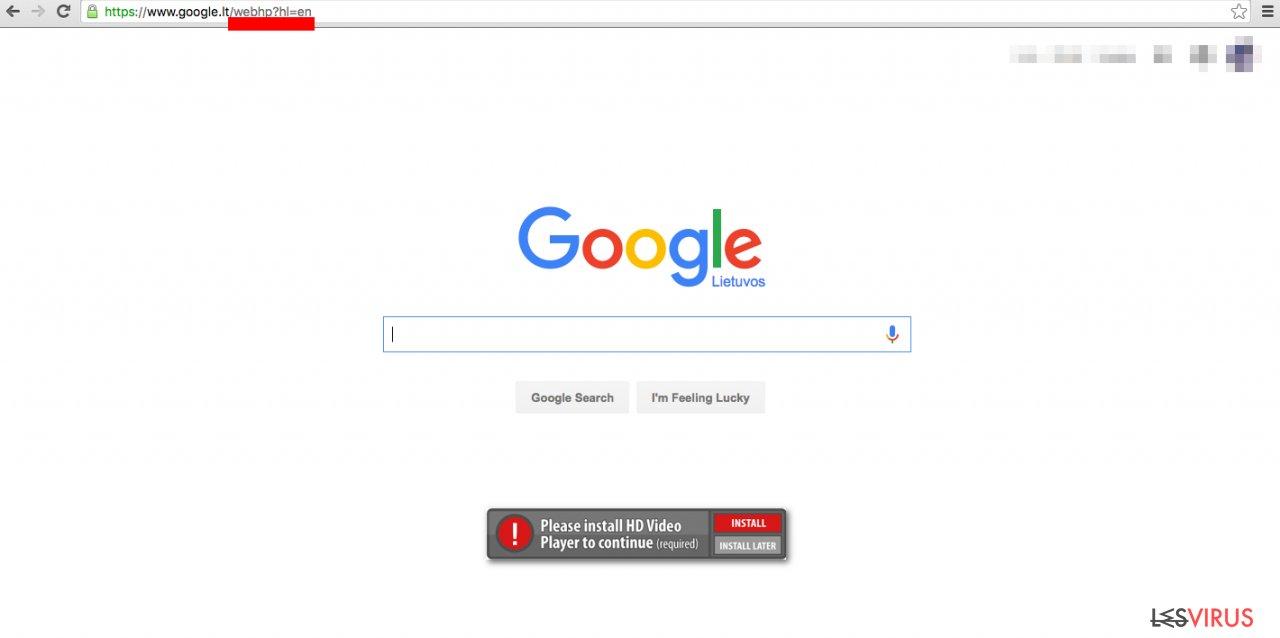 Le virus  Google WebHP définit un faux moteur de recherche comme page d'accueil