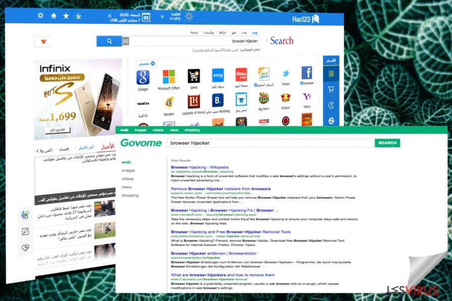 Captures d'écran de Hao123 page principale et résultats de recherche