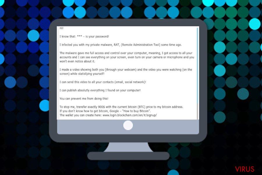 je vous ai infecté de mon malware privé (RAT) (escroquerie par E-mail)