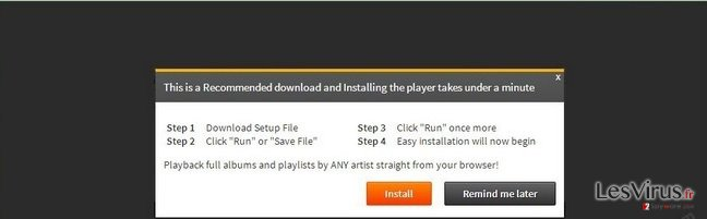 'Infected files have corrupted your Flash Player' virus instantané