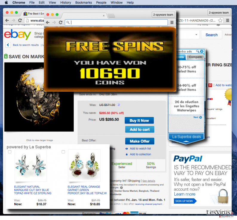 La Superba virus delivering annoying pop-up ads while user shops online