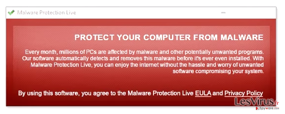 Malware Protection Live fake pop-up warning