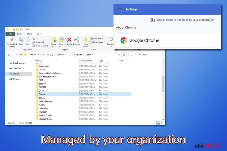 Le virus «Géré par votre organisation »